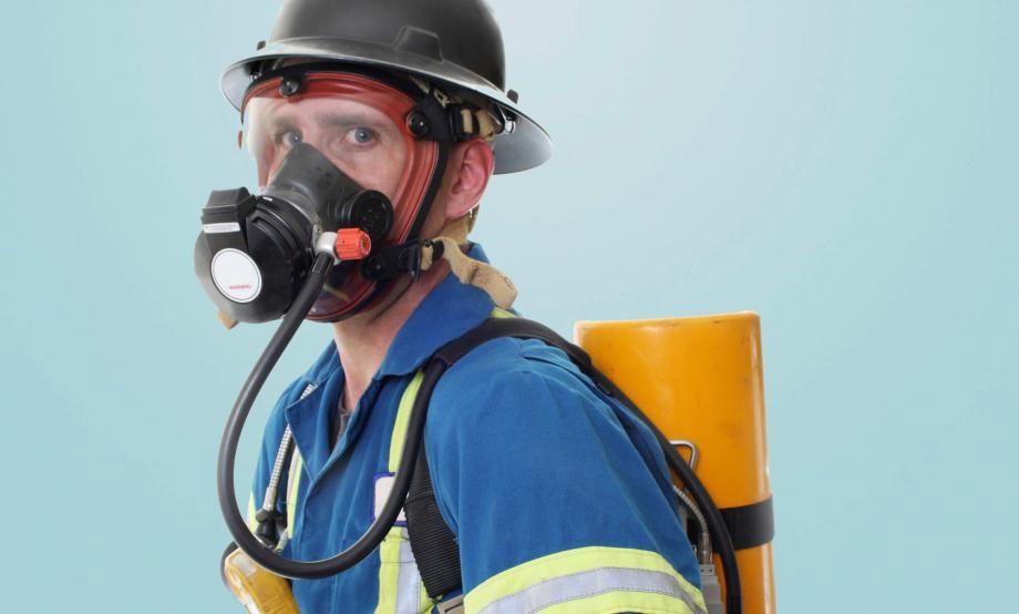 Man with oxygen tank
